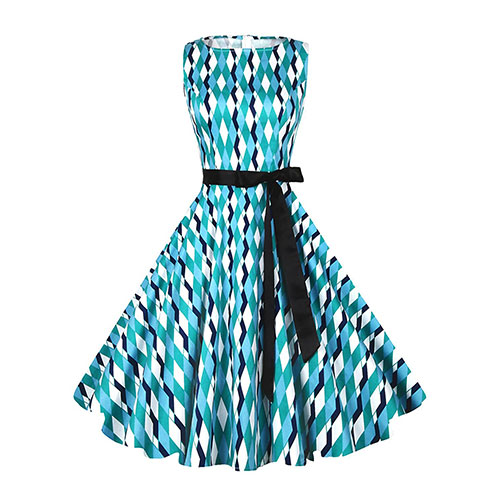 Anni Coco Audrey Hepburn Dress Blue Green