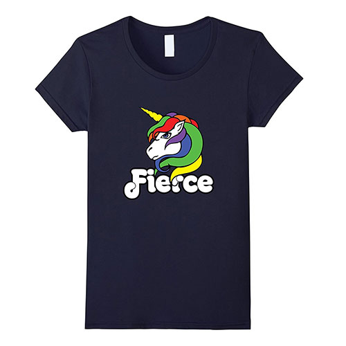 Fierce unicorn lover tshirt cute angry unicorns navy
