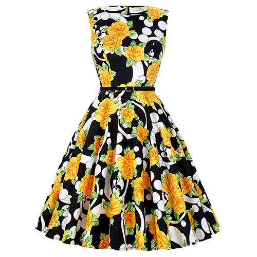GRACE KARIN BoatNeck Sleeveless Vintage Tea Dress with Belt Yellow Rose