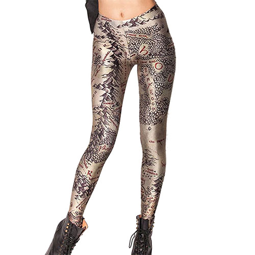 Pink Wind Women 3D Digital Printed Leggings Tights Stretch Pants Gold
