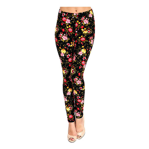 VIV Collection Best Selling Printed Brushed Leggings Pink Yellow Red Roses