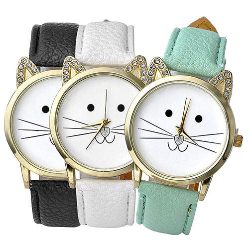 3pcs Women's Platinum Plated Mini Cat Face Shape Rhinestone Ear Dial Analog Quartz Watches