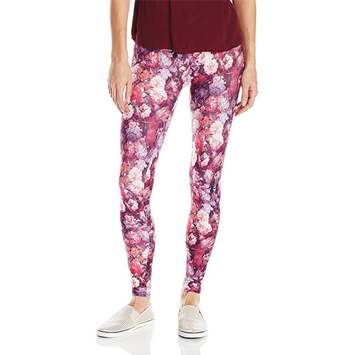 Carnival Women's Full Length Printed Soft Microfiber Legging Purple Allover Floral