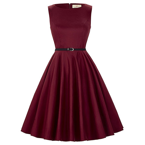 GRACE KARIN BoatNeck Sleeveless Vintage Tea Dress with Belt Dark Red