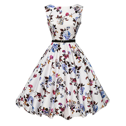 GRACE KARIN BoatNeck Sleeveless Vintage Tea Dress with Belt Floral-22