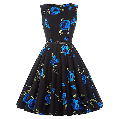 GRACE KARIN BoatNeck Sleeveless Vintage Tea Dress with Belt Floral-24