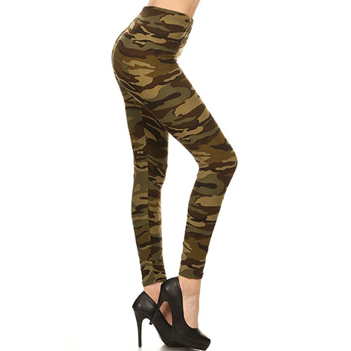 Leggings Depot Printed Fashion Leggings Military Camouflage