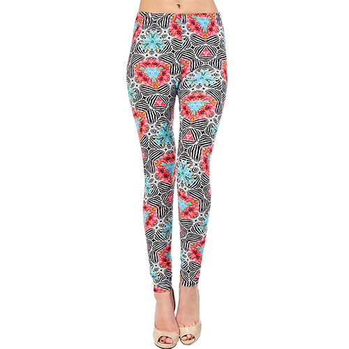 VIV Collection Best Selling Printed Brushed Leggings Regular Size (XS-L) Floral Hypnosis