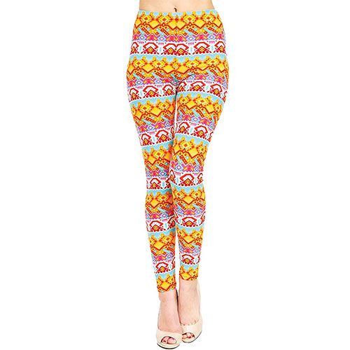 VIV Collection Printed Brushed Leggings Summer Fusion