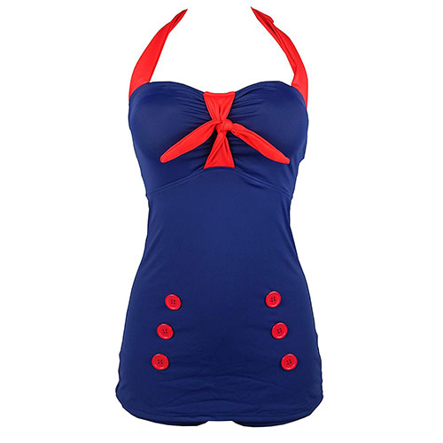 Vintage Pin Up Swimsuit One Piece Boyleg Sheath Retro Bow Front Maillot Navyred