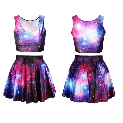 Womens Digital Print Reversible Crop Top Plus Skirt 2-Pieces Vintage Clubwear Red-Galaxy