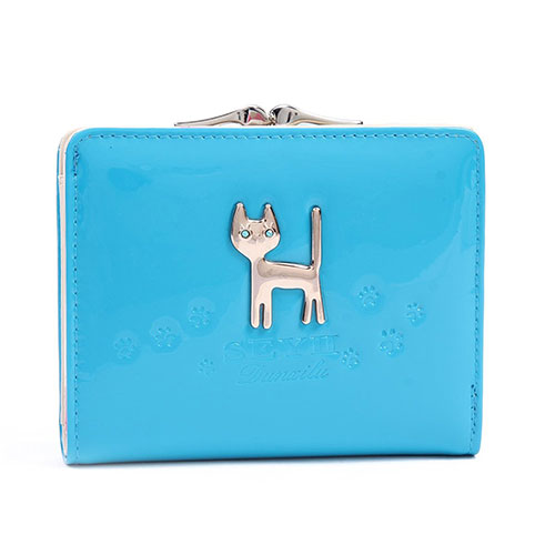 Womens Medium Candy Colors Multifunctional PU Accordion Card Purse Blue