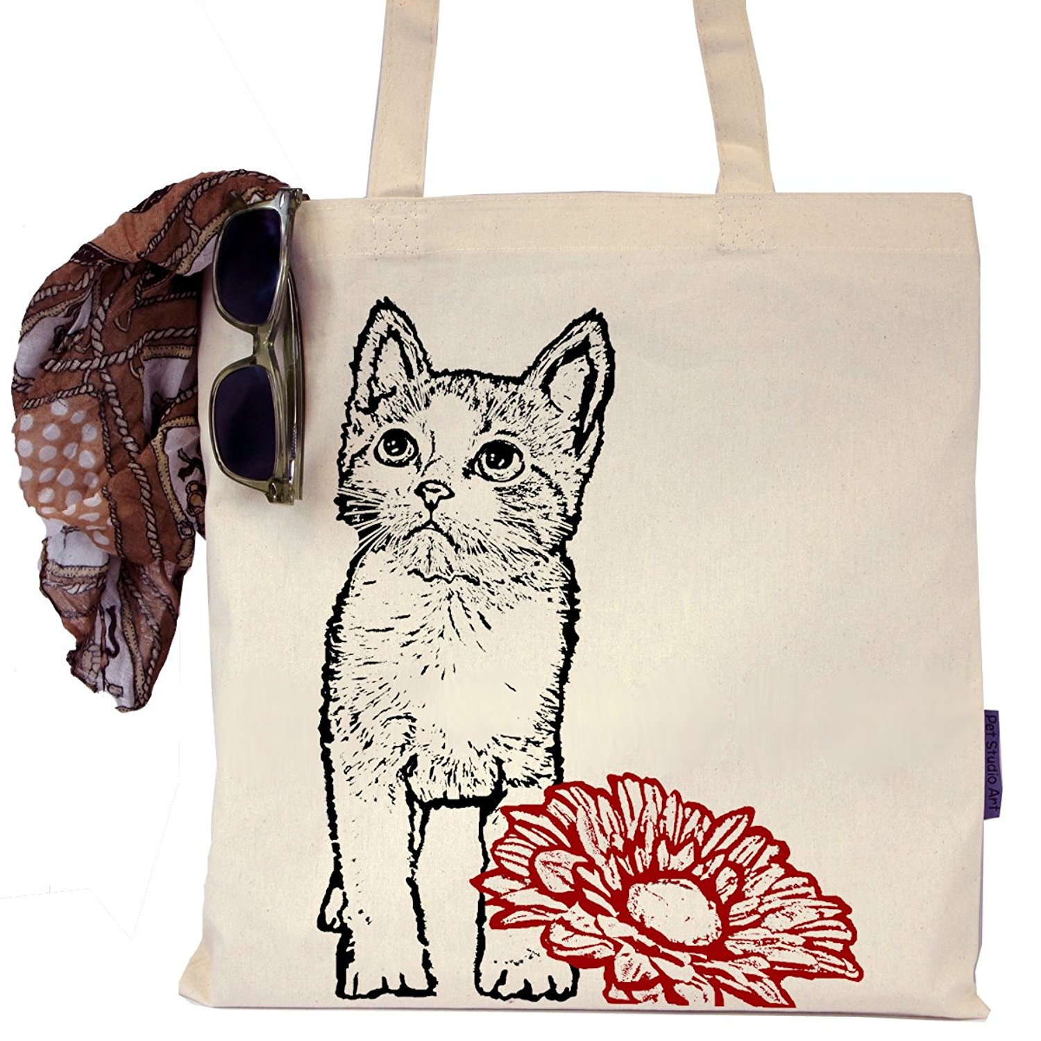 Little Kitty and Flower Tote Bag