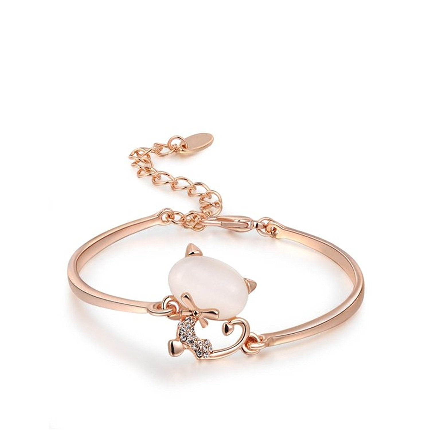 Opal Rose Gold Bangle Bracelet