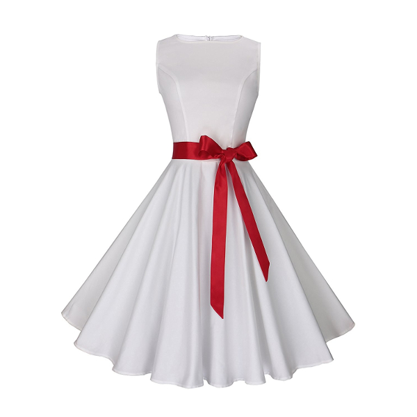 White 1950's Rockabilly Dress With Red Sash