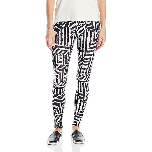 Carnival Women's Full Length Printed Soft Microfiber Legging Black and White Abstract