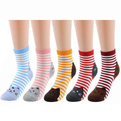 Deer Mum Women Girls Fun Cats Dogs Animal Pattern Crew Socks Multicolored
