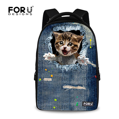 FOR-U-DESIGNS Laptop Backpack for Women Men Teen Girls Boys 5-Cat
