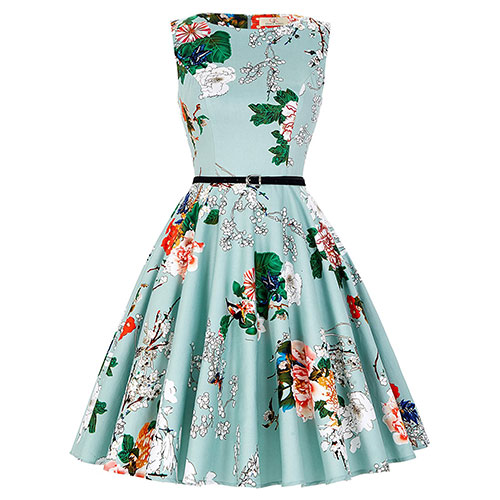 GRACE KARIN BoatNeck Sleeveless Vintage Tea Dress with Belt Floral-33