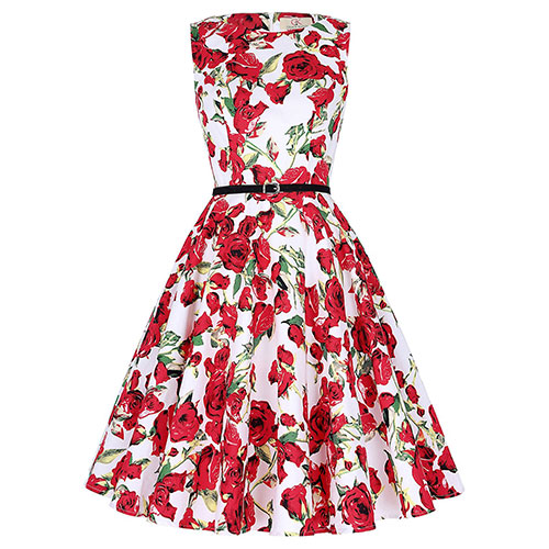 GRACE KARIN BoatNeck Sleeveless Vintage Tea Dress with Belt Floral-51