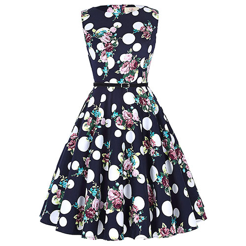 GRACE KARIN BoatNeck Sleeveless Vintage Tea Dress with Belt Floral-53