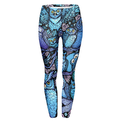JINKAIJIA Women's Pilates Yoga 3D Printed Leggings Night Owl