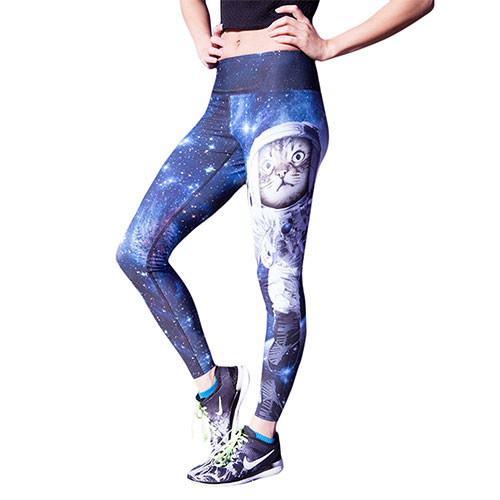 Space Cat 3D Printing Fitness Pants Yoga Sports Trousers High Stretch Fast Dry Pants For Women