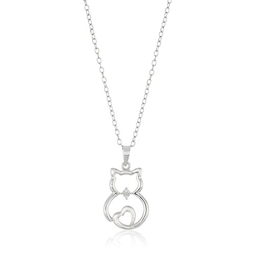 Sterling Silver Diamond Accented Cat Pendant Necklace