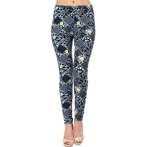 VIV Collection Printed Brushed Leggings Blizzard Bloom