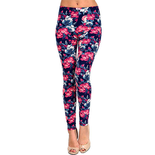VIV Collection Printed Brushed Leggings Faded Rose