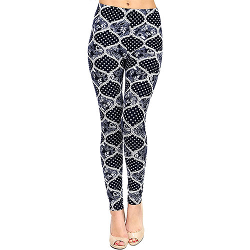 VIV Collection Printed Brushed Leggings Shadowy-Spades