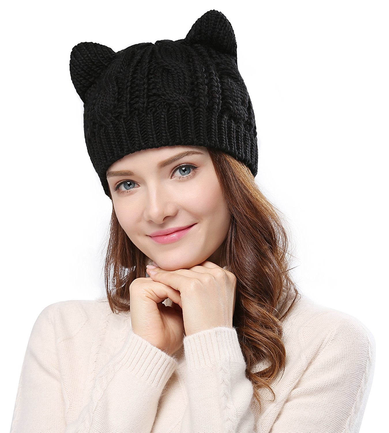 Kitty Crochet Braided Knit Cap