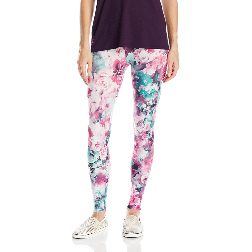 Pink and Teal Floral Microfiber Leggings