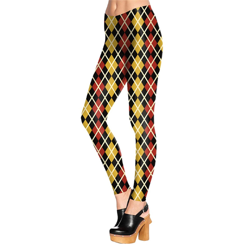 Red and Yellow Argyle Leggings