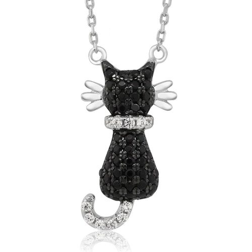 Shiny Sterling Silver Cat Necklace