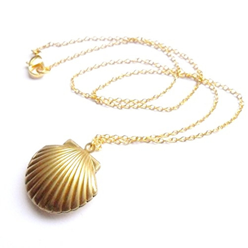 Gold Mermaid Shell Locket Necklace