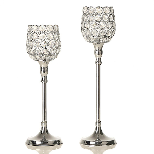 Silver Crystal Candlestick Holder Centerpieces
